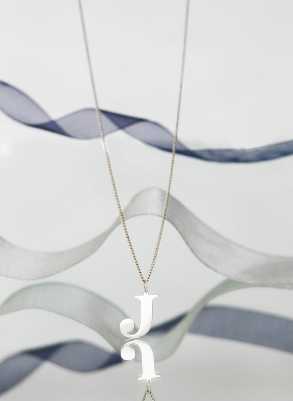 BOLD J Initial Necklace