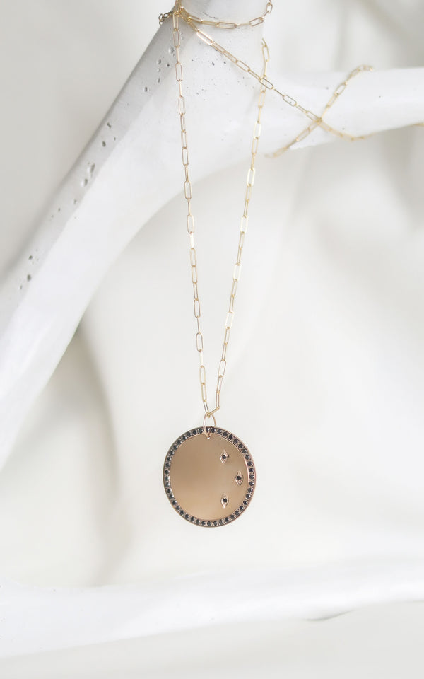 JACK Black Diamond Disc Necklace