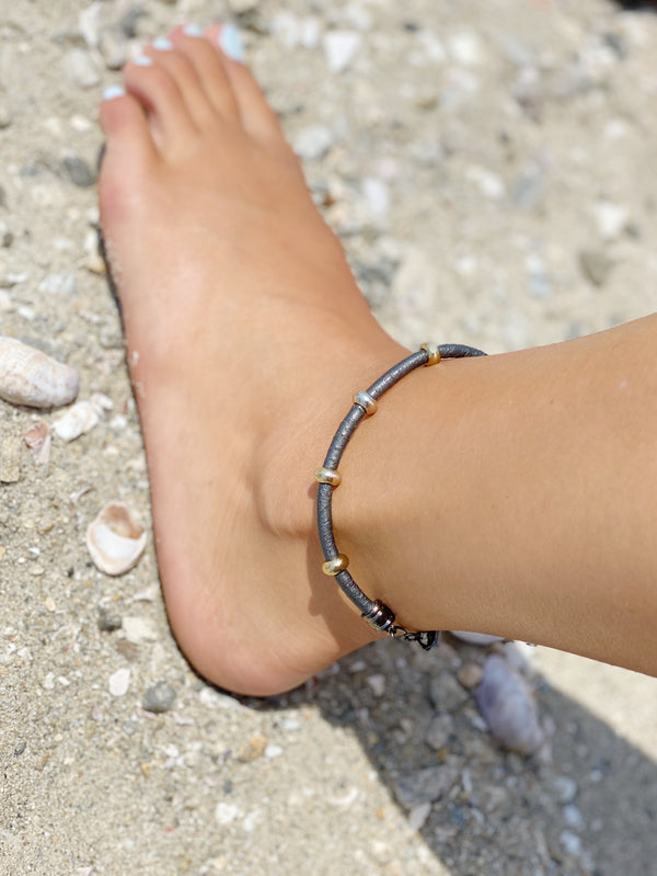 leather & brass anklet