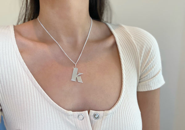 K Sterling Initial Necklace
