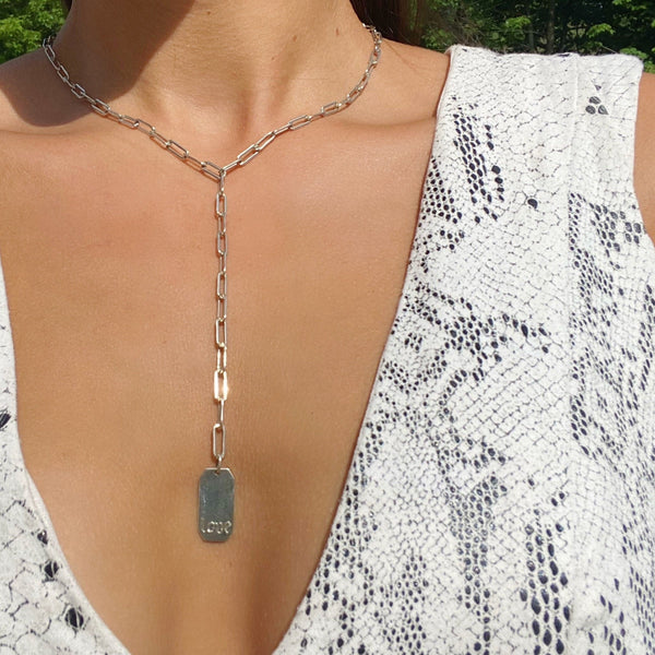 LOVE  Rectangle Y Necklace
