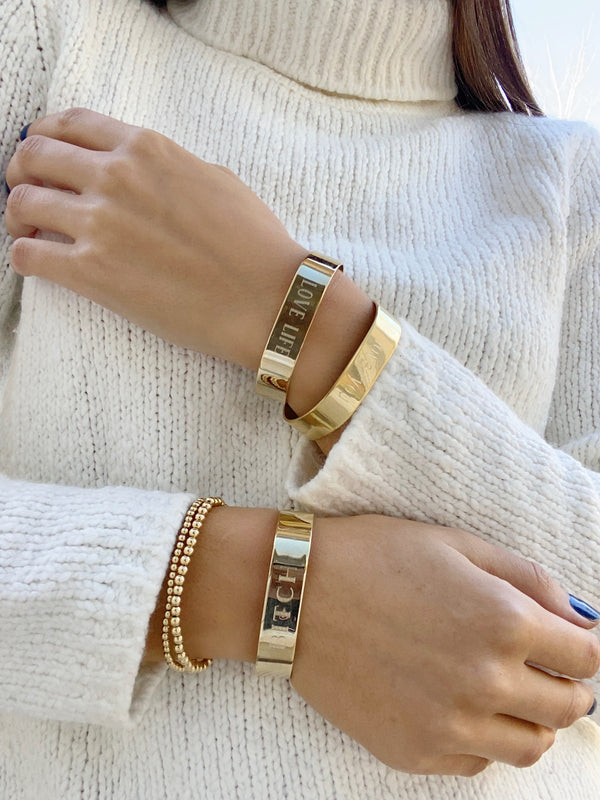 Wide Mantra Cuffs - Gold