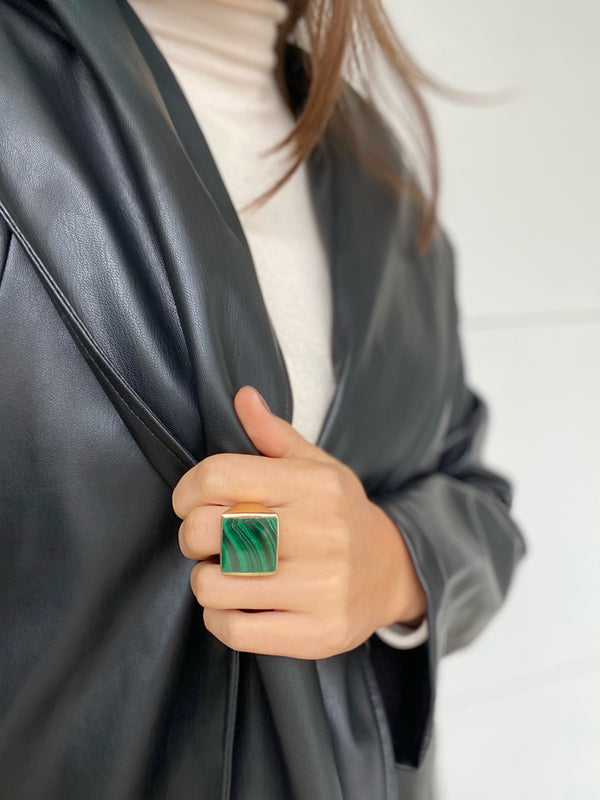 STELLA FLAT MALACHITE Stone  Ring