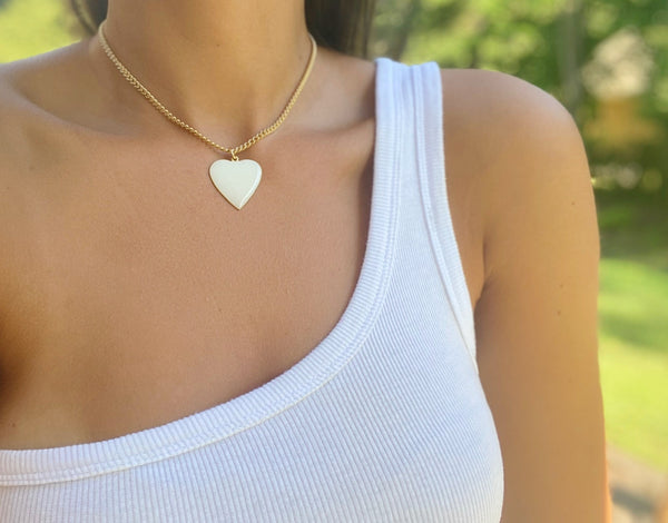 "1.5"" Enamel Heart Pendant Necklaces"