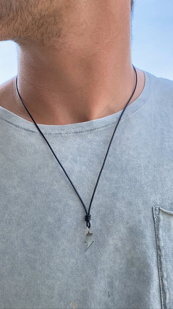 STERLING MENS BOLT - necklace