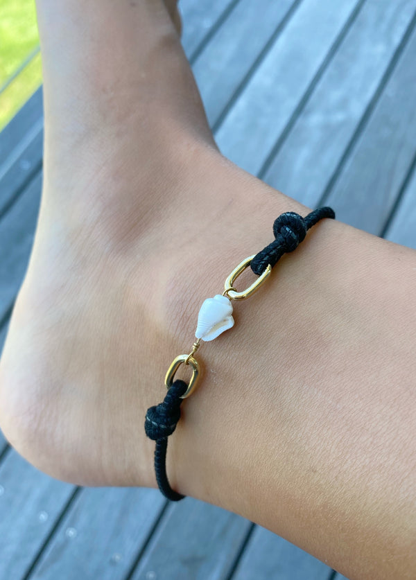 CALEB Shell/Leather Anklet