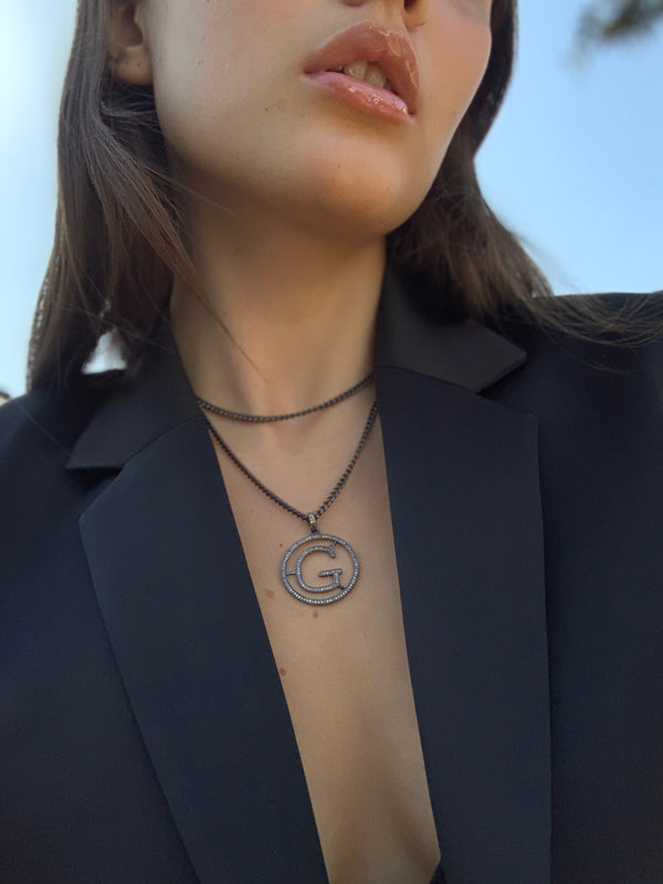 G  & E Initial Disc Necklace