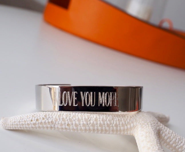 Wide Mantra Cuffs - Silver