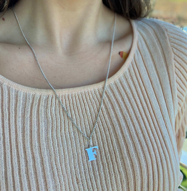 F initial Sterling Silver necklace - .5""