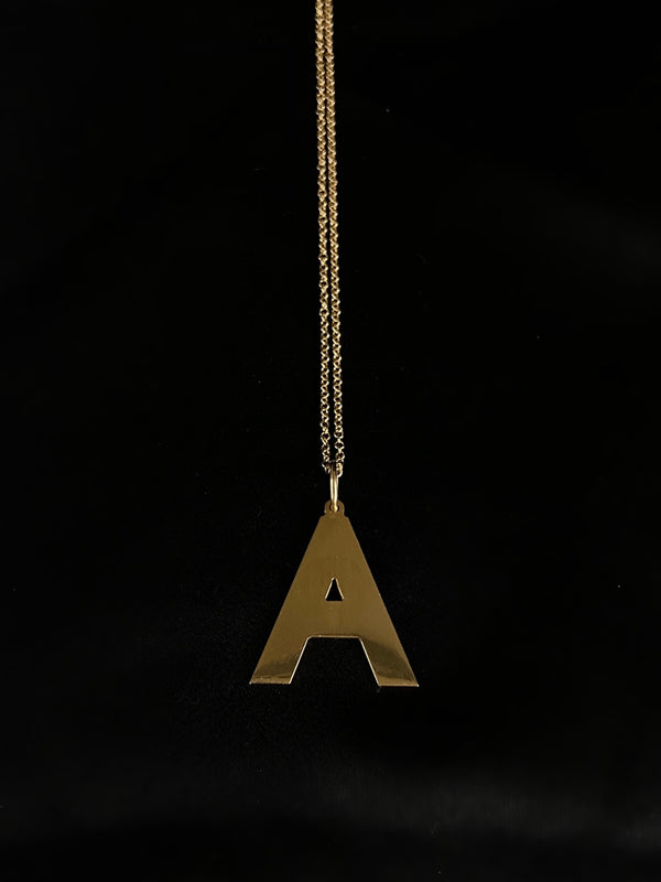 "A  - 3/4"" 14k Gold Initial Necklace"