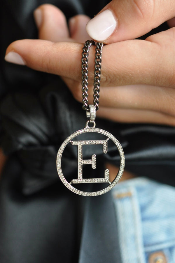 E Initial Disc Necklace