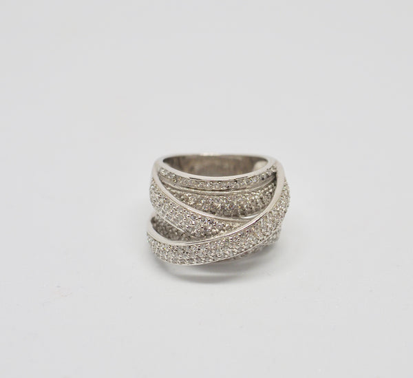 LINDSEY -Silver Crossover Ring - small
