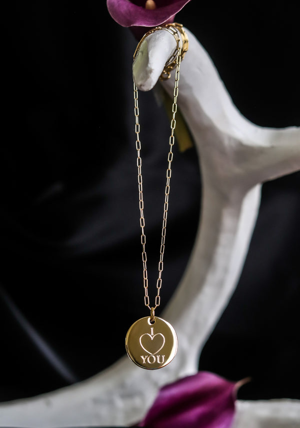 "I HEART YOU - 1"" Mantra Disc Necklace"