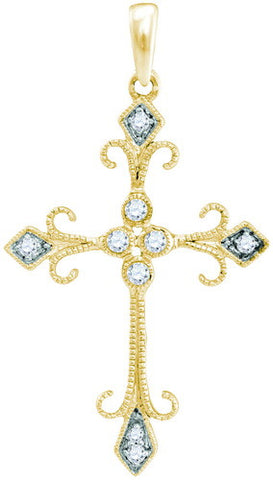 10KT Yellow Gold 1/10 Diamond Cross Pendant
