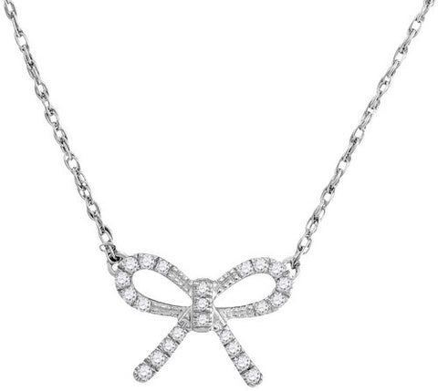 White Gold and Diamond Bow Necklace 16""