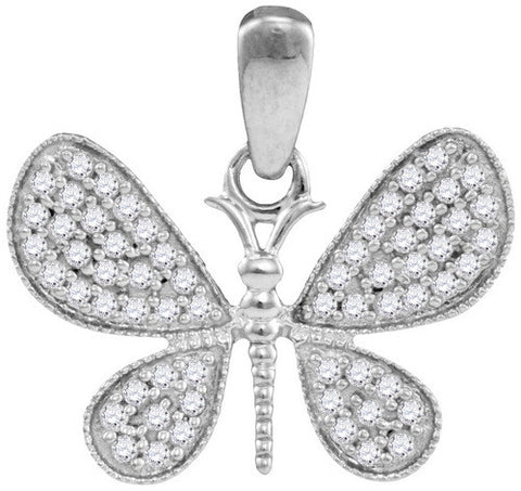 10KT White Gold Diamond Butterfly Pendant