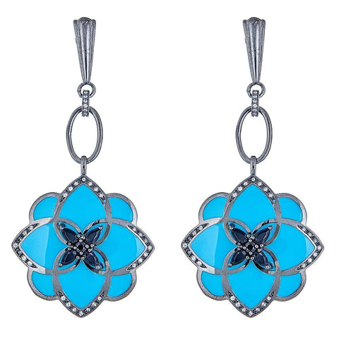 Cristina Sabatini Turquoise Blue Peonia Flower Drop Cubic Zirconia Earrings