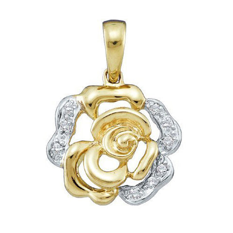 10KT Gold and Diamond Rose Pendant