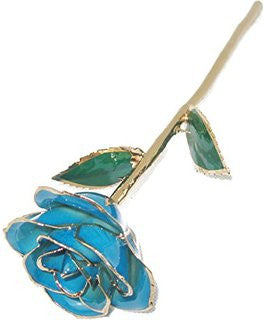 Light Blue 24KT Gold Dipped Rose Made in USA - Giu Giu Boutique
