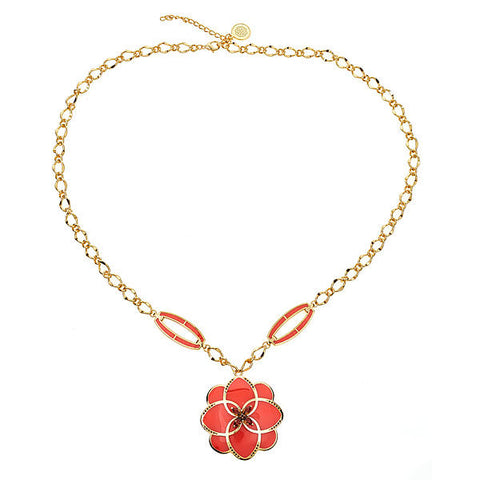 Cristina Sabatini Peonia Coral Flower Necklace