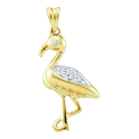 10KT Gold Flamingo Diamond Pendant
