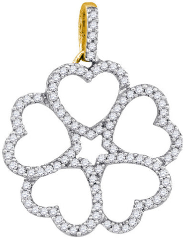 10KT Yellow Gold Heart Clover Pendant