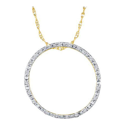 Giu Giu Jewelry Women's 10kt Gold White Diamond Circle Pendant - Giu Giu Boutique