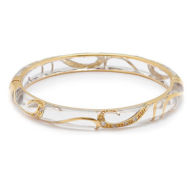 Cristina Sabatini Pavone Clear and Gold Tone Bangle Bracelet - Giu Giu Boutique