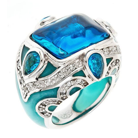 Cristina Sabatini Pavone Indian Turquoise Blue Pillow Ring - Giu Giu Boutique