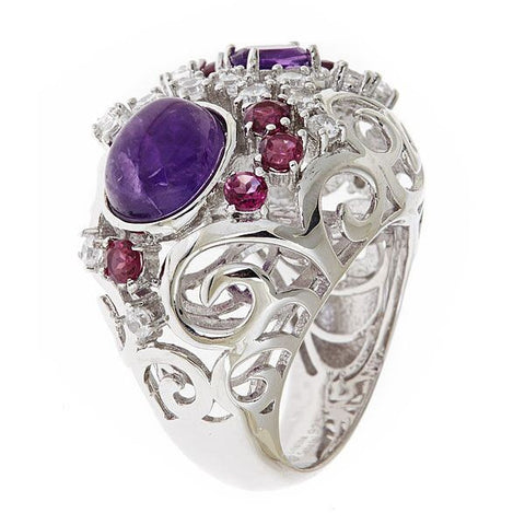 Cristina Sabatini Pavone Purple Stardust Pillow Ring - Giu Giu Boutique