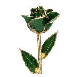 Dark Green 24KT Gold Dipped Rose Made in USA - Giu Giu Boutique