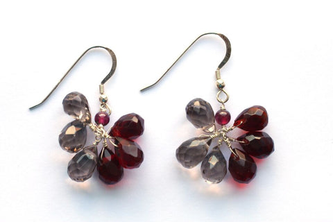 Giu Giu Semi-Precious Sterling Silver Earrings with Garnet and Smoky Quartz - Giu Giu Boutique