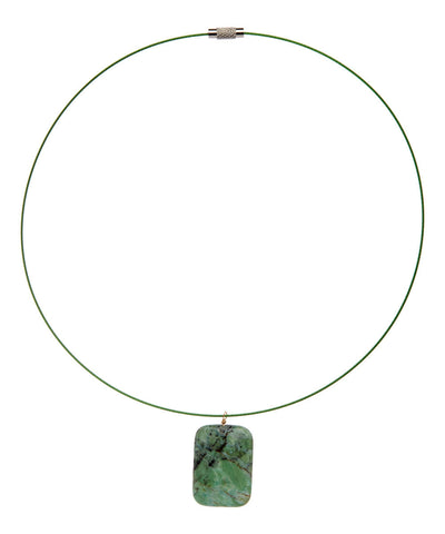 Hand Made Square Jade Choker on Stainless Steel Wire - Giu Giu Boutique