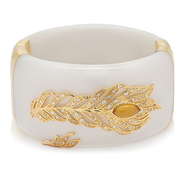 Cristina Sabatini Pavone White Feather Bracelet - Giu Giu Boutique