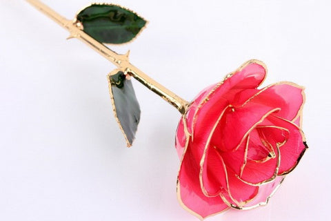 Pink 24KT Gold Dipped Rose Made in USA - Giu Giu Boutique  - 1