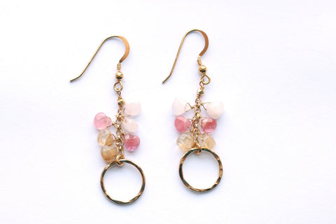 Giu Giu Semi-Precious Sterling Silver Earrings with Rose Quartz, Pink Tourmaline - Giu Giu Boutique