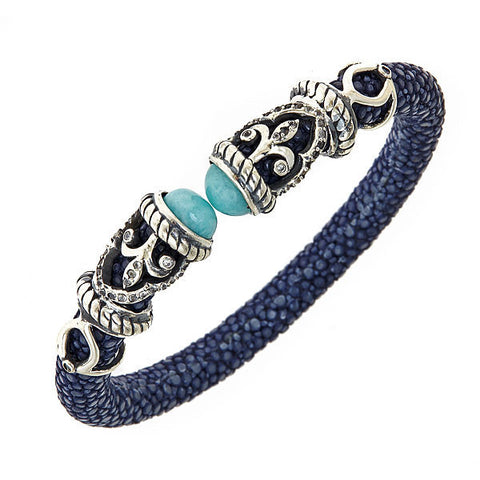 Cristina Sabatini Rope Scroll Dark Blue Bangle Bracelet - Giu Giu Boutique