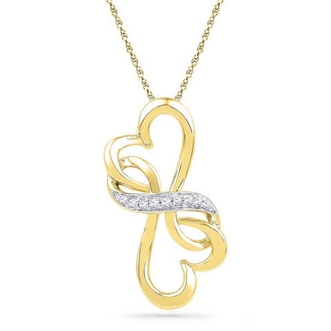 10KT Gold Heart Pendant with Diamonds - Giu Giu Boutique