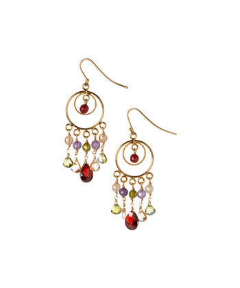 Giu Giu Semi-Precious Sterling Silver Goddess Earrings with Citrine, Garnet and Amethyst - Giu Giu Boutique  - 1