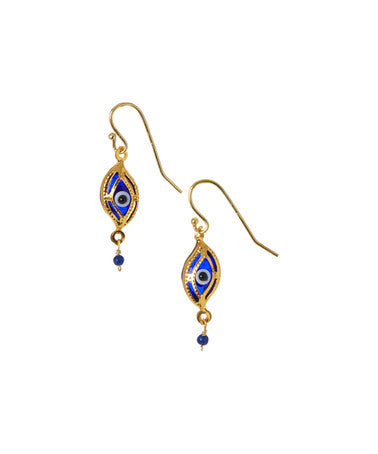 Giu Giu Semi-Precious Sterling Silver Dark Blue Evil Eye Earrings - Giu Giu Boutique