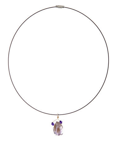 Hand Made Drop Amethyst Choker on Stainless Steel Wire - Giu Giu Boutique
