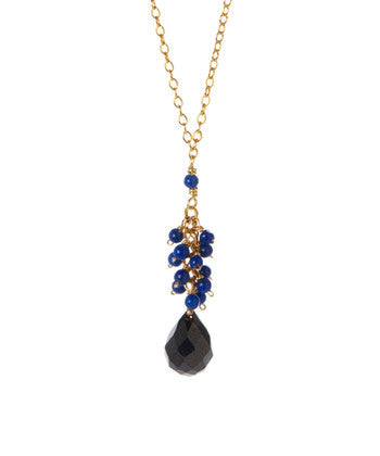 Giu Giu Semi-Precious Sterling Silver Dark Blue Lapis Drop Necklace - Giu Giu Boutique  - 1