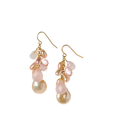 Giu Giu Semi-Precious Sterling Silver Earrings with Rose Quartz and Freshwater Pearl