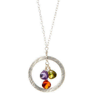 Giu Giu Semi-Precious Sterling Silver and Semiprecious Circle Necklace - Giu Giu Boutique