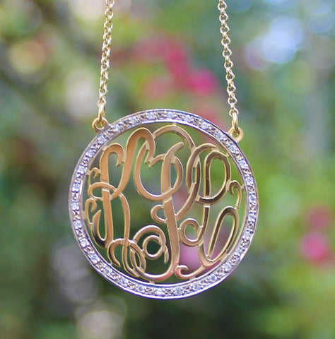 CZ Rimmed Monogram Necklace