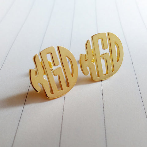 Gold Monogram Post Earrings