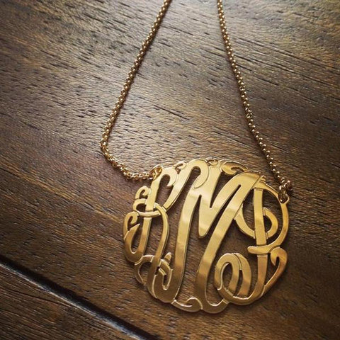 Monogram Necklace - Gold Fancy Script