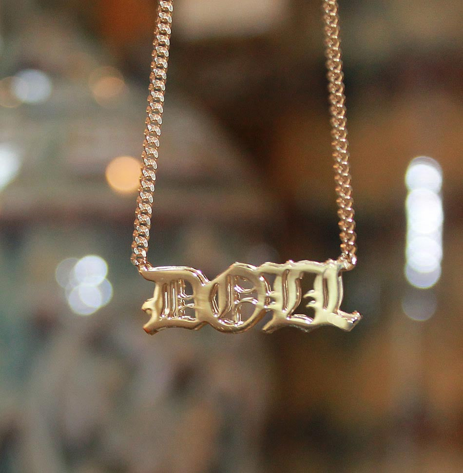 Old English Gothic Namplate Necklace