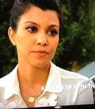 Engraved Disc with Sideways Cross Necklace  - Kourtney Kardashian