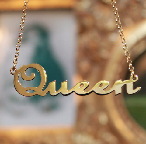 Large Name Necklace Gold